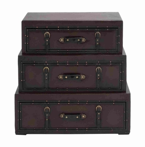 Rich Design And Natural Texture Wooden Leather Trunk Cabinet - 55734 by Benzara