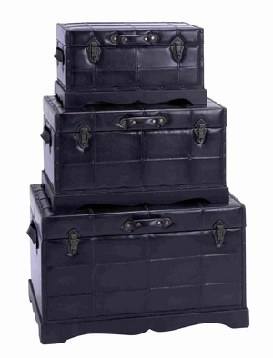 Wooden Leather Trunk with High Quality Wood Material set of 3 Brand Woodland
