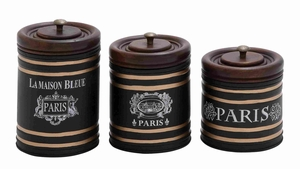 Wooden Lid Metal Jar in Black Finish with Airtight Set of 3 Brand Woodland
