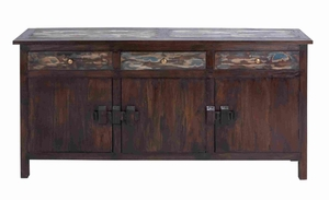 Wooden Mahogany Buffet Table with Wine Bottle and Glass Holder Brand Woodland