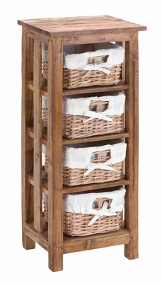 Wooden Mahogany Rattan Basket with 3 Wooden Shelves and Storage Brand Woodland