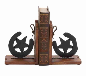 Wooden Metal American Cowboy Themed Horse Shoe Bookend Pair Brand Benzara