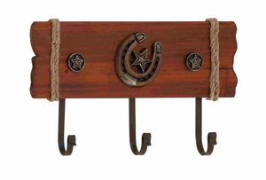 Wooden Metal Cowboy Themed Stylish Wall Hook Panel Brand Benzara