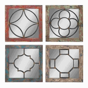 Wooden Metal Mirror in Rustic Finish 4 Assorted Pieces Brand Woodland