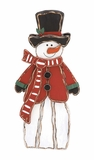 "Wooden Metal Snowman w/ Black Hat & Red Coat 18""W, 40""H by Woodland Import"