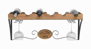 Wooden Metal Wine Rack with Scrolls and Wood Grain Texture Brand Woodland