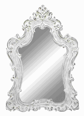 Wooden Mirror in Silver Color with Traditional Design Brand Woodland