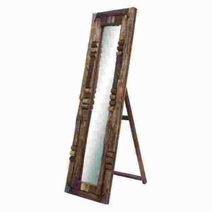Wooden Mirror Lavished with Weathered Accents in Elegant Designs Brand Woodland