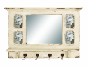 """Wooden Mirror with Rubbed Finish 22"""" Height Brand Woodland"""