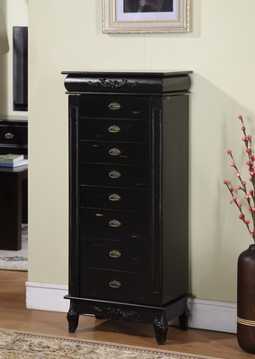 Wooden Morris Eight Drawer Jewelry Armoire in Black Finish Brand Nathan