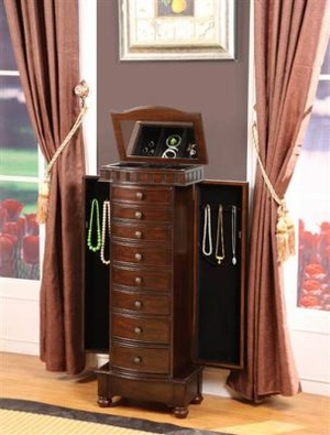 Wooden Muscat 8 Drawer Jewelry Armoire in Coffee Brown Finish Brand Nathan
