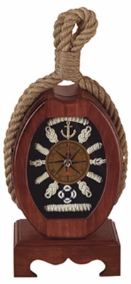 Wooden Nautical Clock with Vertical Elliptical Shaped Dial Brand Woodland