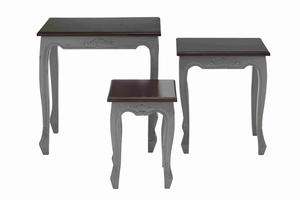 Wooden Nested Accent Table with Contemporary Style Set of 3 Brand Woodland