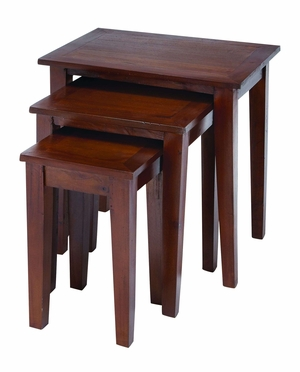 Wooden Nested Table in Glossy Chocolate Brown Finish - Set of 3 Brand Woodland