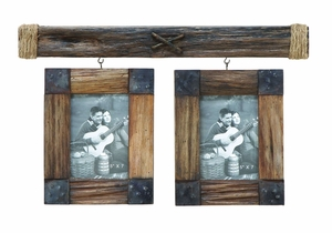 Wooden Photo Frame with Metallic Trinkets Brand Woodland