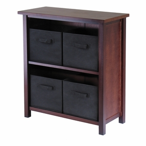Wooden Polished Walnut Finish 2-Tiers Storage Shelf with 4 Black Baskets by Winsome Woods