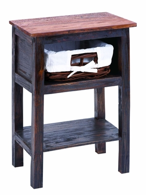 Wooden Rattan End Table with Rust Design and One Storage Basket Brand Woodland