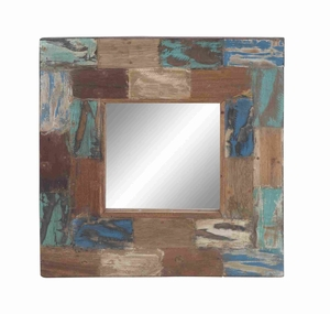 Wooden Reclaimed Mirror in Smooth Paint and Natural Finish Brand Woodland