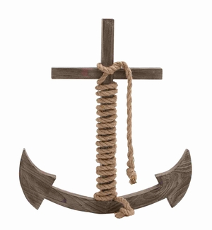 Wooden Rope Anchor Shaped Wall Decorative Brand Benzara