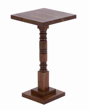 "Wooden Round Shaped Pedestal Table with Sturdy Construction 26"" H Brand Woodland"