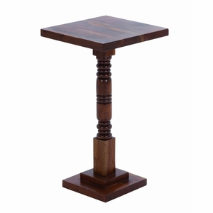 """Wooden Round Shaped Pedestal Table with Sturdy Construction 26"""" H Brand Woodland"""