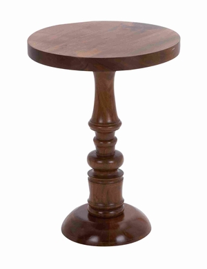 Wooden Round Shaped Pedestal Table with Sturdy Construction Brand Woodland