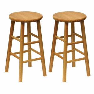 "Wooden Set of 2 Assembled 24"" Stool with Beveled Seat by Winsome Woods"