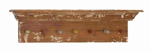 Wooden Shelf  Vintage Wall Panel with Colorful Hooks Brand Benzara