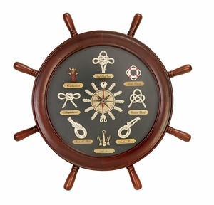 Wooden Ship Wheel Round Shaped Clock in Dark Brown Finish Brand Woodland
