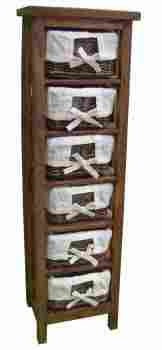 Wooden Storage Unit and 6 Rattan Drawers with Modern Design Brand Woodland