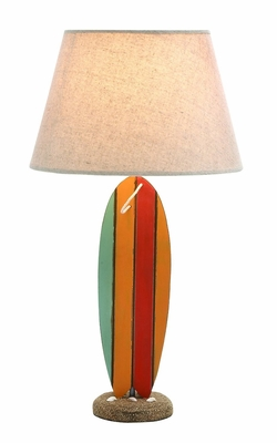 Wooden Surfboard Shaped Table Lamp in White with an On/Off Switch Brand Woodland