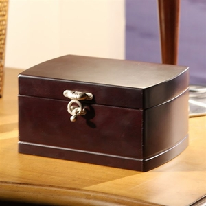 Wooden Treasure Jewelry Box with Sturdy Construction in Black Brand Nathan