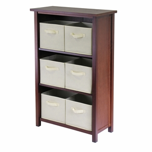 Winsome Wood Wooden Verona Walnut Polished 3 Tier Storage Shelf with 6 Beige Color Baskets