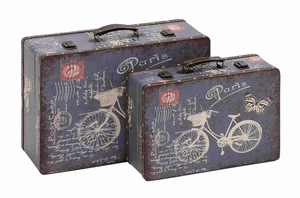 Wooden Vinyl Set of Two printed vintage suitcases Brand Benzara