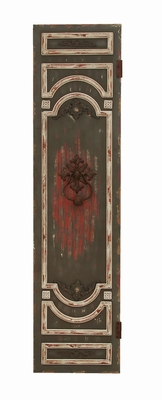 "Wooden Wall Panel with Bright Red Accents 78"" Tall Brand Woodland"