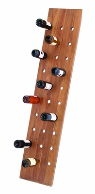 """Wooden Wall Wine Rack in Glossy Brown Finish 65"""" Height Brand Woodland"""