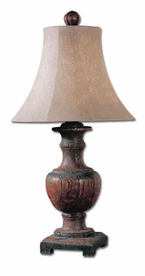 Woodman Dark Wood Table Lamp with Round Bell Shade Brand Uttermost