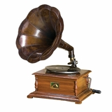 Working Gramophone with Brass Horn, Antique Brass Wood Gramophone Brand Woodland