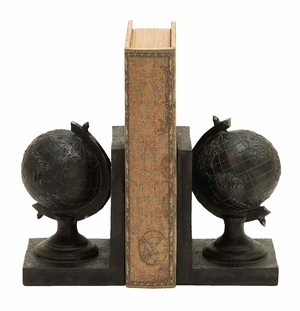 World Globe Themed Book End Set In a Cast of Raised Polyresin Brand Woodland