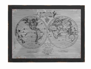 World Map Themed Wooden Metal Wall Panel D�cor Brand Benzara