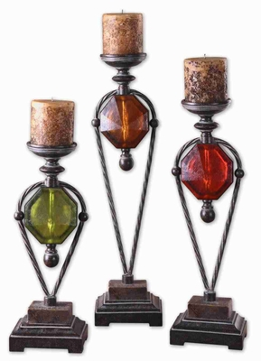 Wrought Iron Candle Holder Set With Translucent Ruby Red Details Brand Uttermost