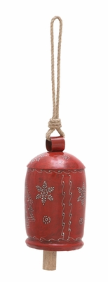 "Xmas Bell Antiqued Red 23"" Holiday Decor"