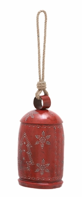 "Xmas Bell Antiqued Red 27"" Holiday Decor"