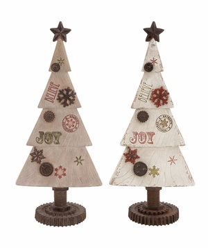 "Xmas Christmas Tree Joy 2 Assorted 16"" Tall Holiday Decor"