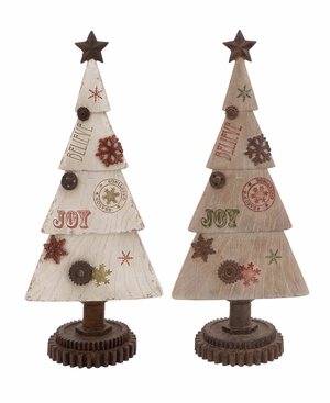 "Xmas Christmas Tree Joy 2 Assorted 21"" Tall Holiday Decor"