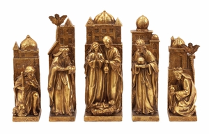 Xmas Nativity Set of 5 Figurines in Gold Finish Holiday Decor