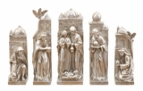 Xmas Nativity Set of 5 Figurines in Silver Finish Holiday Decor