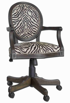 Yalena Swivel Desk Chair In White and Espresso Wood Brand Uttermost