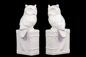 Yangtze Attractive Ceramic Owl Bookend White by Urban Trends Collection