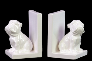 Yangtze's Ceramic Bulldog Bookend Set Of Two White